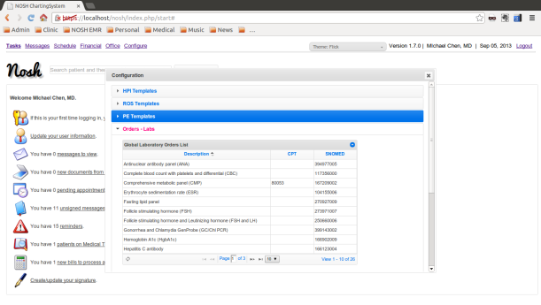 View of Configuration Dialog